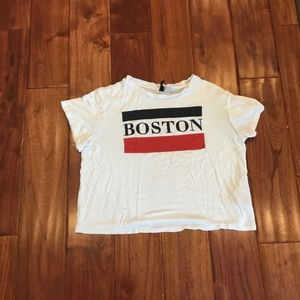 White cropped Boston Shirt